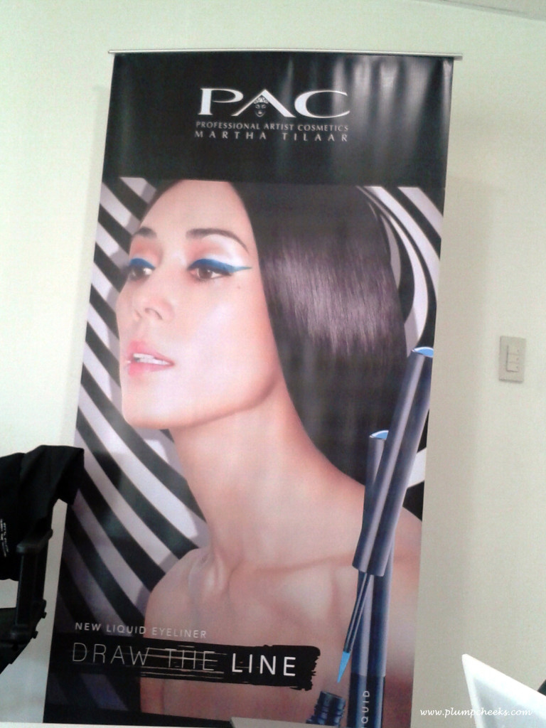 A large poster of the eyeliner line