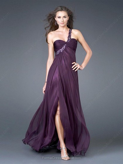 A-line Chiffon One Shoulder Split Front Floor-length Formal Dresses