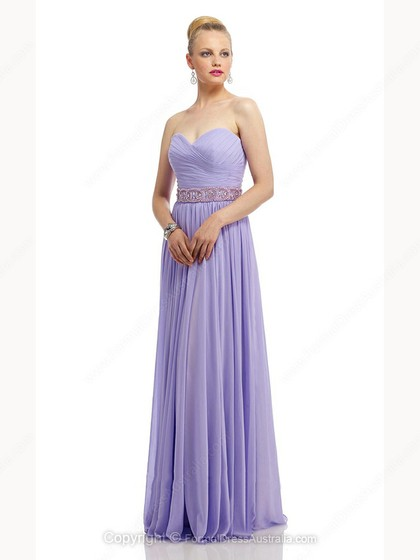 A-line Chiffon Sweetheart Beading Floor-length Formal Dresses